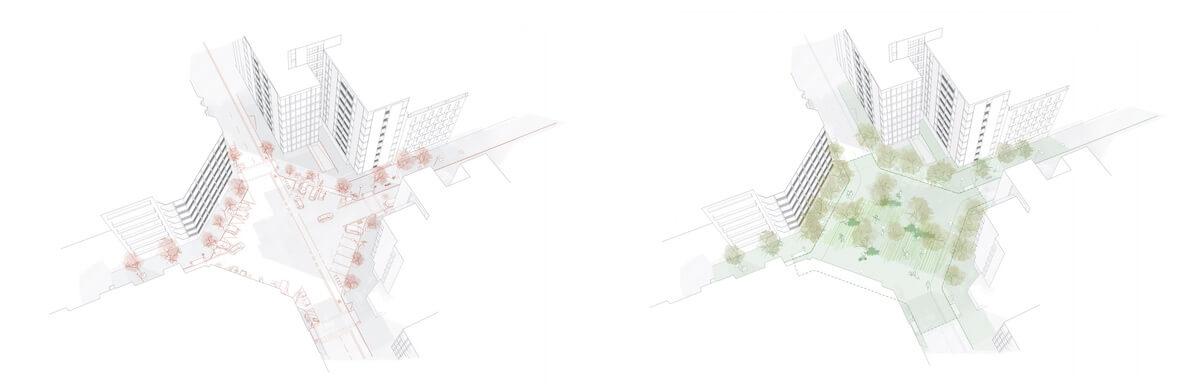 Imagen virtual del antes y el después en los chaflanes del Eixample.