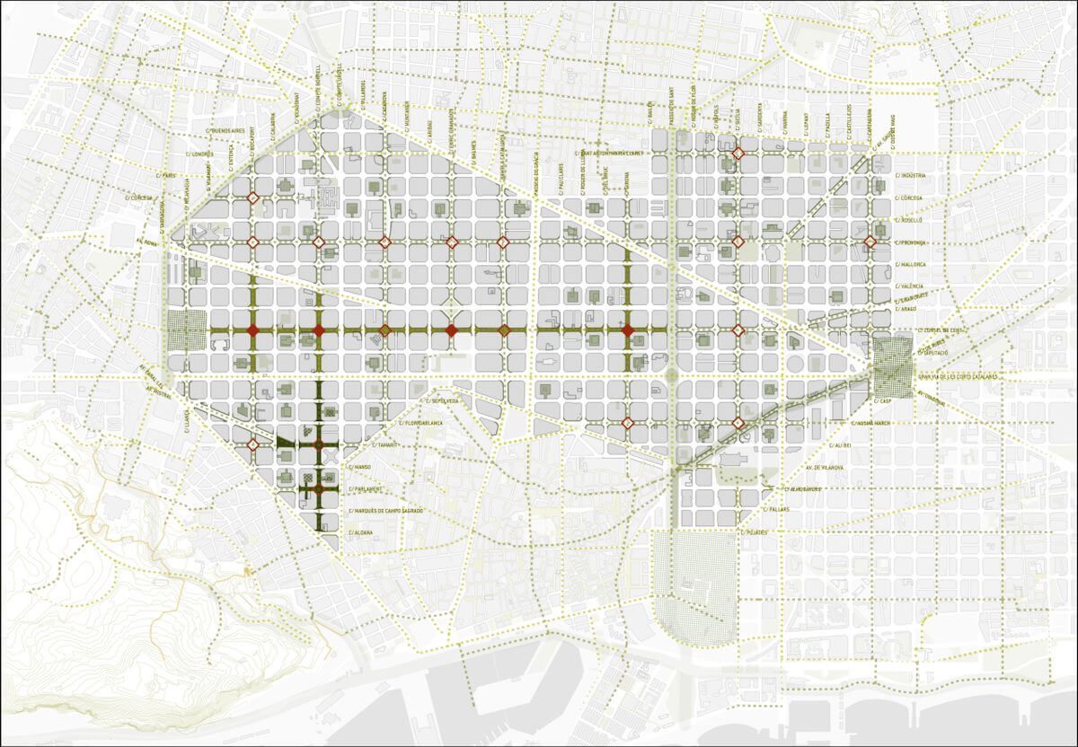 La transformación del Eixample empezará con cuatro ejes verdes (marcados en el mapa en verde) y cuatro plazas (en rojo).