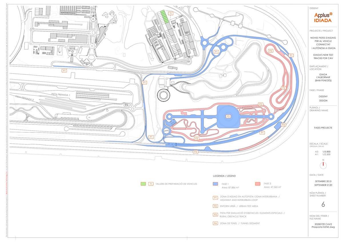 Plano con las diferentes fases de construcción de las nuevas pistas.