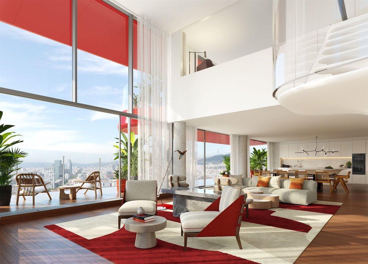 Uno de los futuros apartamentos de lujo de la Tore Antares.