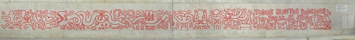 Grafiti 'Todos juntos podemos parar el sida' de Keith Haring.