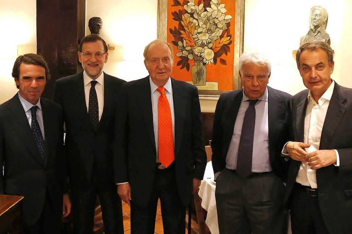 Cena Rey emérito Juan Carlos I y expresidentes Rajoy, Zapatero, Aznar y González