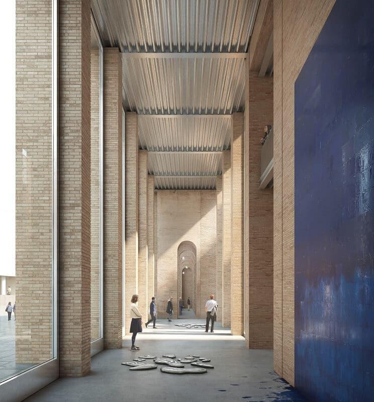 Galería interior en la planta baja del nuevo edificio del MACBA.