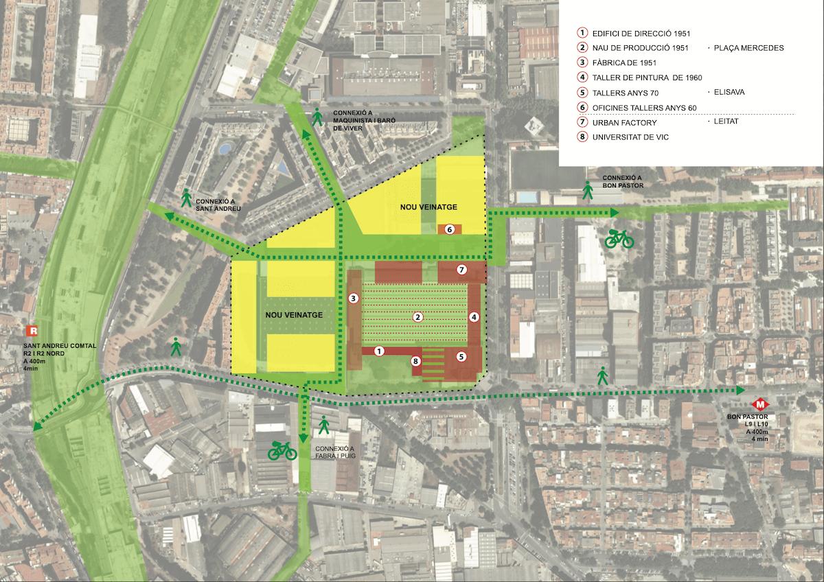 Mapa de cómo será el futuro espacio de la antigua fábrica Mercedes Benz