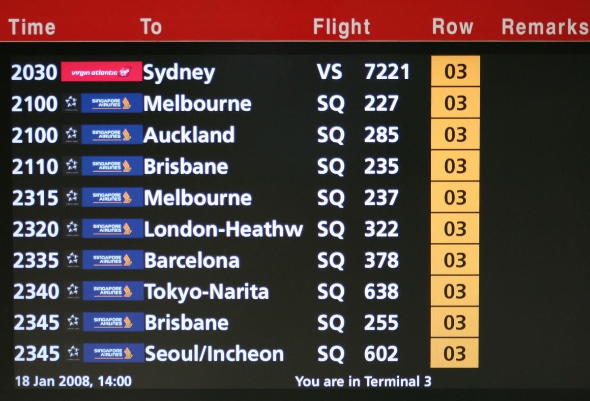 Panel destinos Singapore Airlines