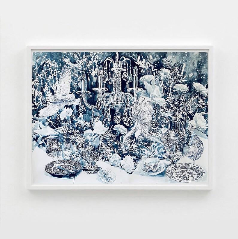 Stilleben In blau, de la pintora polacaMalgosia Jankowska. Barcelona Gallery Weekend
