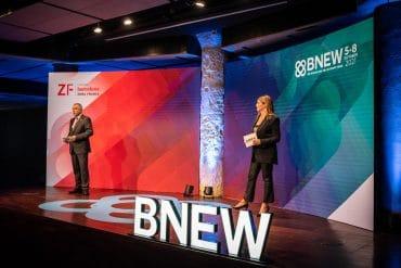 Pere Navarro i Blanca Sorigué a la presentació de BNEW 2021.
